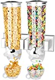 2PK Food Dispenser Wall Mount Double Dry Cereal Dispensers with 2 Cork& 2 Cup Convenient Storage Dual Control for Nuts Coffee Beans Trail Mix Candy Granola Rice Pasta Container 7.5Oz Each Cereals Bank