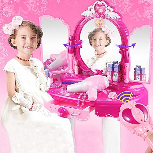 ZJchao 1 Juego de Tocador de Princesa Glamour, Juguetes Educativos para Niñas, Regalo de Cumpleaños, Espejo Mágico, Secador de Pelo, Juguete para Mesa de Maquillaje