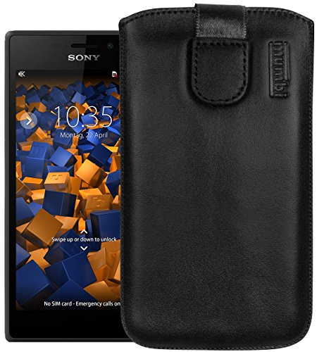mumbi Echt Ledertasche kompatibel mit Sony Xperia M2 Hülle Leder Tasche Hülle Wallet, Schwarz