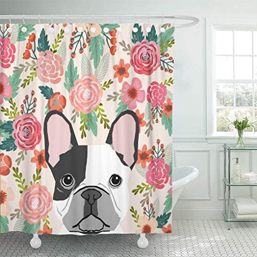 Semtomn Shower Curtain Frenchie French Bulldog Cute Pet Portrait Puppy Owners Dog 72'x78' Home Decor Waterproof Bath Bathroom Curtains Set with Hooks