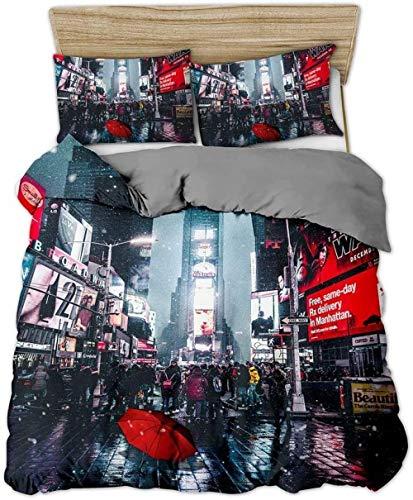 Rvvaceo® Dekbedovertrek met 3D-print Set kingsize bed Kingsize 3D-effect quilt beddengoed sets met kussenslopen Poly katoen luxe Nieve en la calle llena de gente Individual (135 x 200 cm)