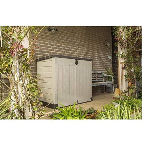Aufbewahrungsbox Store it Out Ace - 1200 Liter - für Mülltonnen oder Gartengeräte - mit Gasdruckfedern Mülltonnenbox Gerätebox Schuppen für 2X 240 Liter Mülltonnen - 100% schimmelfrei durch Belüftung