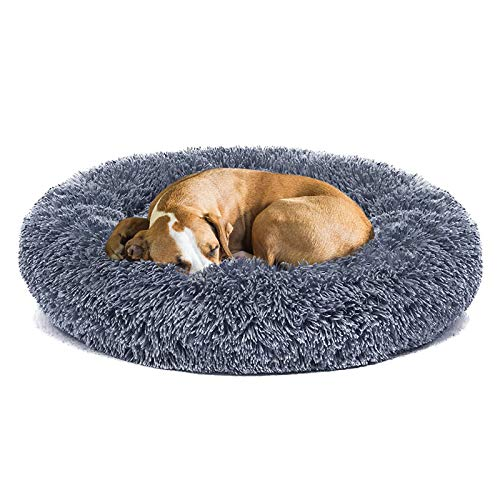 Anxiety Dog Beds for Large Dogs Improved Sleep, Orthopedic Relief, Washable Round Pillow Long Plush Fluffy Big Pet Bed with Blanket Comfy Calming Large Size Cushion Bed