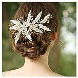 HONEY BEAR donna clip pettine per capelli,gioielli da sposa,accessori per capelli sposa,gioielli a forma di fiore con finte perle e strass (Foglia)