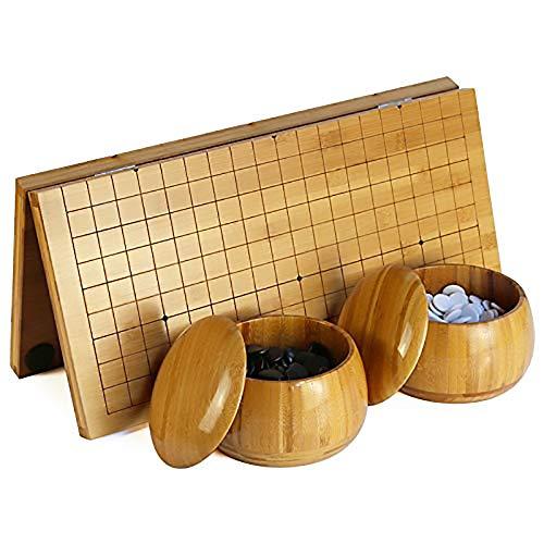 ADLOASHLOU Go Game Set Tablero de ajedrez Plegable, 19 x 19 Bamboo Go Chess Board,Go Juego de Mesa de Madera, Tablero de 0.7 Pulgadas,Incluye 2 Cuencos, 361 Piezas de ajedrez en Blanco y Negro