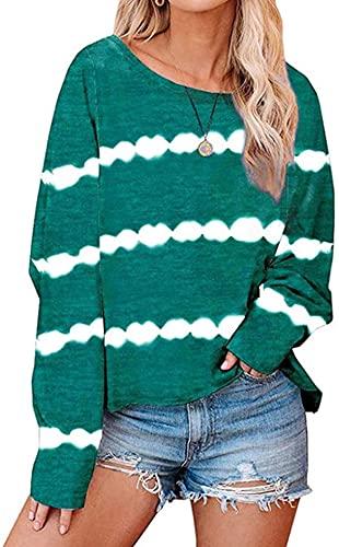 Tegerri Camisa de manga larga con estampado de rayas para mujer, cuello redondo, tallas grandes, sueltas, blusas