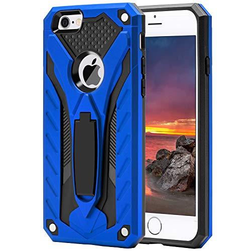 AFARER iPhone 6 iPhone 6S Hülle, militärische Qualität auf 3,6 m Fallhöhe getestete Schutzhülle, Extrem-Schutz Rüstung Duale Schichte Gehäuse mit Klappständer für Apple iPhone 6 iPhone 6S - Blau