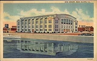 New Armory Rock Island, Illinois Original Vintage Postcard