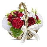 ソープフラワー 創意方形ギフトボックス 父の日 誕生日 記念日 先生の日 母の日 バレンタインデー 昇進 転居など最適としてのプレゼント… (赤い-1)