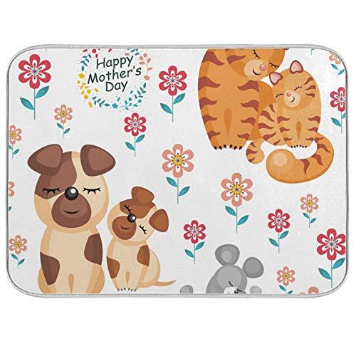 Tapis de séchage à vaisselle Microfibre de comptoirs de cuisine Protecteur de coussin sec 16 x 18 pouces Fête des mères Famille d'animaux Fleur