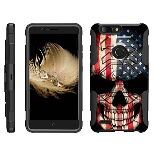 TurtleArmor   Compatible with ZTE Blade Z Max Case   ZTE ZMax Pro 2 Case [Octo Guard] Dual Layer Case Holster Belt Clip Sturdy Kickstand Cover - US Flag Skull