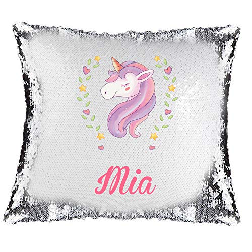 Active Decor Magic Reveal Sequin Cushion Cover a PERSONALISED Pillow Blue Heart Pink Unicorn Design, Bespoke Custom Made Xmas
