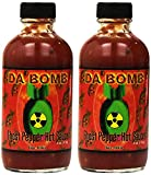 Da'Bomb Original Ghost Pepper Hot Sauce - 22,800 Scovilles - 4oz Bottles Made in USA with Habanero & Jolokia Peppers- Non-GMO, Gluten Free, Sugar Free, Keto - Pack of 2