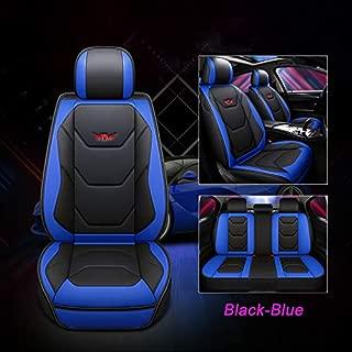 JOJOHON Luxury PU Leather Auto Car Seat Covers 5 Seats Full Set Universal Fit (Black-Blue)