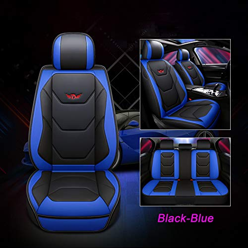JOJOHON Luxury PU Leather Auto Car Seat Covers 5 Seats Full Set Universal Fit (Black-Blue)