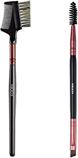 KOOBA Set Eyelash Comb and Duo Eyebrow Brush 2Pcs, Portable Makeup Eye Powder Foundation Brush, Beauty Cosmetic Tool for P...