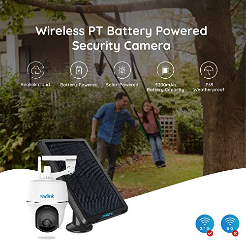 REOLINK Argus PT 1080p HD Solar/Rechargeable Battery-Powered Wireless Outdoor Indoor Home Security IP Camera, Pan Tilt, 2 Way Audio, Starlight Night Vision, PIR Motion Detection, SD/Cloud Storage