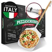 pizza divertimento paletta per pizza in alluminio inossidabile e legno di pioppo sostenibile [83 cm di lunghezza] - paletta per pizza con grande superficie e bordi arrotondati