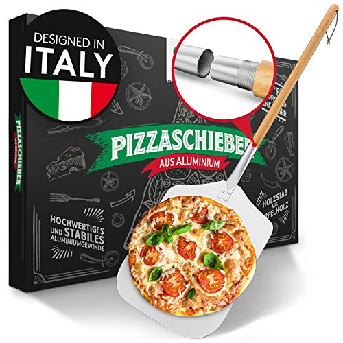 Pizza Divertimento® Pelle à pizza [83 cm] - Pelle à pizza inoxydable - Aluminium inoxydable - Filetage pratique et solide - Pelle à pizza à bords arrondis