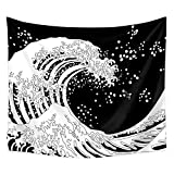 Wave Tapestry Blanco y Negro Kanagawa Great Wave Wall Hanging Art Ocean Wave Retro Art Home Decor Beach Towel Yoga Mat