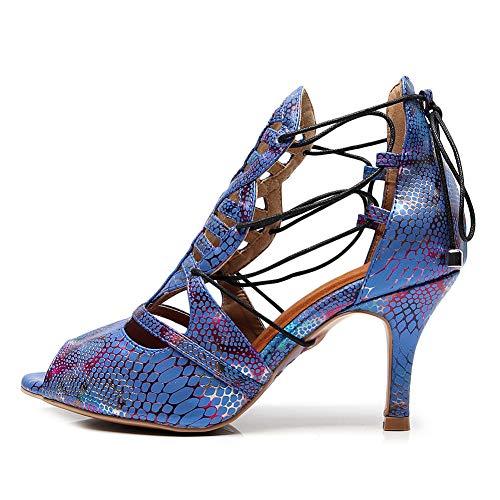 SWDZM Zapatos de Baile Latino para Mujer, Sandalias de Cuero de tacón...