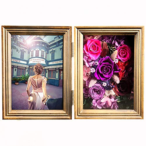 GPWDSN Bilderrahmen mit ewigen Rosen, Bilderrahmen mit ewigen Blumen, Geschenk für Valentinstag, Muttertag, Weihnachten, Jahrestag, Geburtstag, 12,5 x 17,6 cm