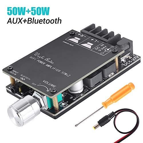 MakerHawk 2Pcs Digital Amplifier Board TPA3116D2 Two-Channel Stereo High Power Digital Subwoofer Power Amplifier Board 2x50W 5V 12V 24V for Store Solicitation Home Theater Square Speakers DIY