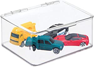 """mDesign Plastic Stacking Organizer Toy Box with Attached Lid for Storage of Action Figures, Crayons, Markers, Building Blocks, Puzzles, Craft or School Supplies - 3"""" High, 2 Pack - Clear"""