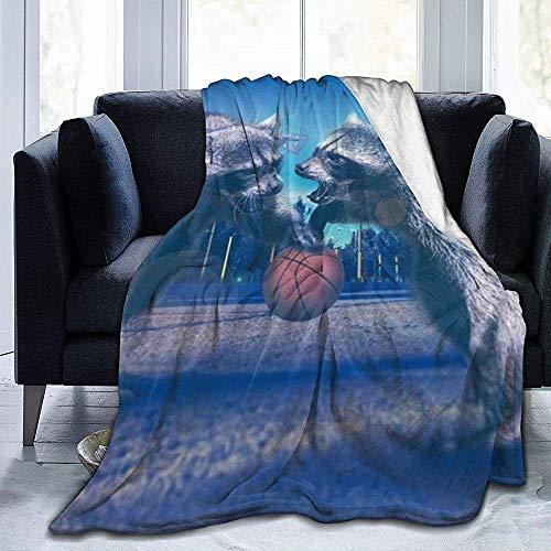 Lustige Waschbär-gemütliche Plüsch solide Decke,super weiche Flauschige Fleecedecke für Schlafzimmer Wohnzimmer, 102 x 127 cm (50 x 40 Zoll)