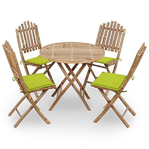 vidaXL Juego de Comedor de Jardín Plegable 5 Piezas Muebles Mobiliario Exterior Terraza Balcón Hogar Cocina Silla Mesa Asiento Suave con Cojines Bambú
