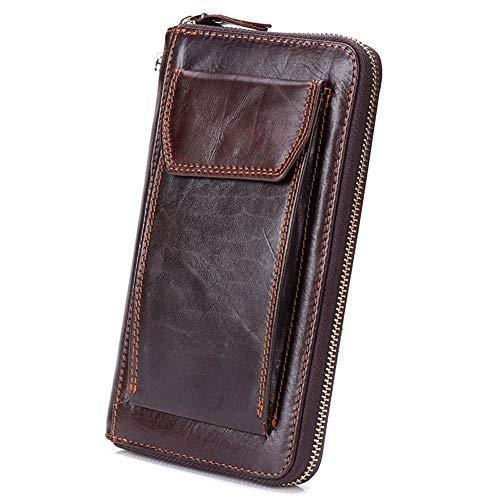 ZGRHZY portemonnee portemonnee echt lederen heren credit card houder koppeling polszak muntgeld tas handgemaakte massief bruin