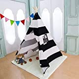 xiaowantong Kids Teepee Tent, Classic Indian Wide Stripe Play Tent with Carry Bag for Boys and Girls Indoor Outdoor (Black)