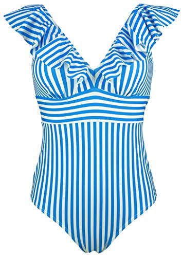 COCOSHIP Dresden Blue White Striped Striae Women's One Piece Deep V Neckline Bikini Backless Swimsuit Flounce Shirred Swimwear Maillot 14