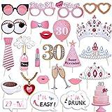 Qpout Accesorios para fotos de 30 cumpleaños (25 piezas),Accesorios divertidos para fotos de fiesta de cumpleaños para mujeres Accesorios para fotos de fiesta de cumpleaños número 30 decoración