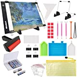 Wsdart 133PCS Diamond Painting A4 LED Light Pad Kit- Diamond Art Light Board with 5D Painting Tools, Apply to Full Drill & Partial Drill 5D Diamond Painting with Detachable Stand and Roller