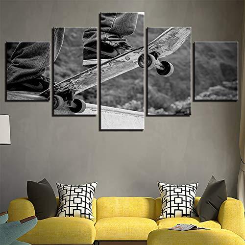 Bilder Skateboard Extremsportelement Wandbild Vlies - Leinwand Bild Format Wandbilder Wohnzimmer Wohnung Bar Fitnessraum Deko Kunstdrucke 5 Teilig - Fertig zum Aufhängen ,B,20*30*2+20*40*2+20*55*1