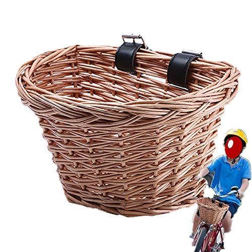 TopHGC Cesta de Mimbre para Bicicleta, Cesta Delantera de Bicicleta Tradicional,Kids