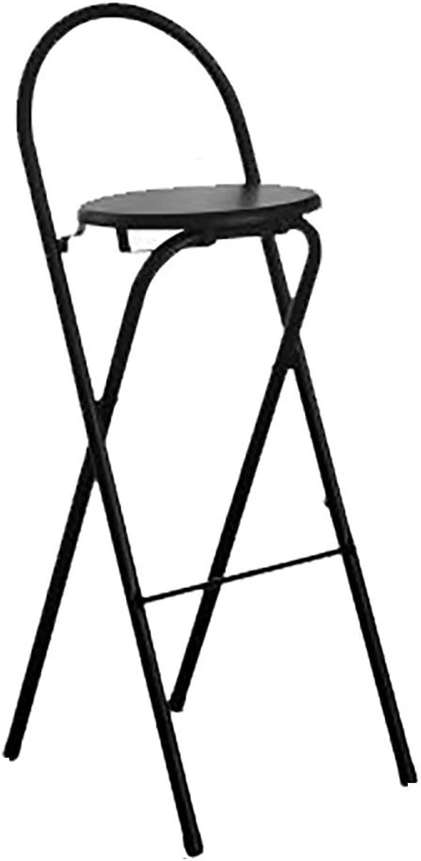 Bar stools Stools,Bar stools, Chairs, Sofas,High Stool bar Stool Folding Household Fishing Stool Modern bar Stool backrest Steel Tube Thickening Height Chair (color   Black)