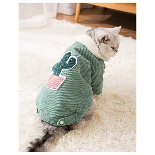 Anabei Nueva ropa de gato cactus pana abrigo de algodón gatito pequeña leche gato mascota ropa verde - L