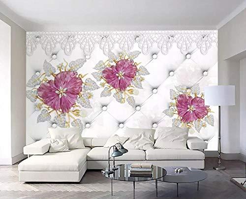 Fond D'Écran Impressiono1052-Stereo 3D Papier Peint De Luxe Bijoux En Or Fleur Tv Classique Fond Papel De Parede Papier P-300 * 210Cm