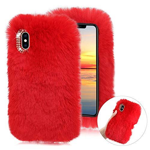 Cestor Weich Flauschige Silikon Plüsch Hülle für Samsung Galaxy A20E,Niedlich Winter Warm Pelzig Faux Pelz Glitzer Diamant Schützend Stoßfest Hülle mit 3D Kristall,Rot