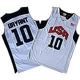 DSFF Burant USA Basketball Team 10# Jerseys, camiseta de baloncesto retro, camiseta y pantalones cortos para hombre, Blanco A, S