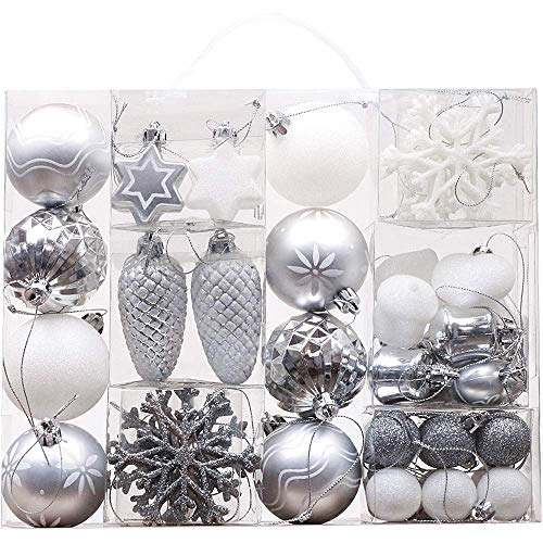 Victor's Workshop 35 Pezzi Christmas Baubles Silver White Christmas