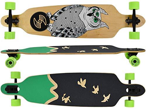MAXOfit Longboard Freedom Drop Through Longboard 104 cm mit 9 Schichten Ahorn, ABEC 11 Kugellager, super für Anfänger