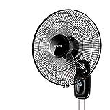 FANS Wandventilator schwarz 60W, Wand ventilatoren für Zuhause, 16 Zoll Elektro oszillierend Lüfter, extra langes Netzkabel