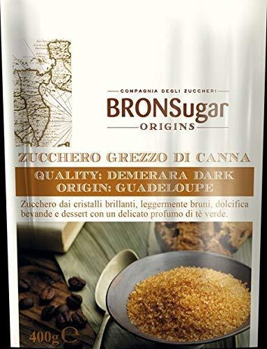 Compagnia degli Zuccheri Bronsugar Zucchero Grezzo di Canna Origine Guadeloupe Cristalli Brillanti Leggermente Bruni e Delicato Profumo di Té Verde - 1 x 400 Grammi
