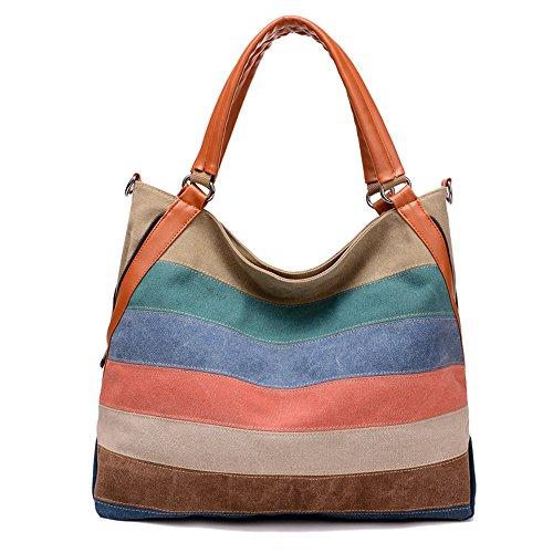 Wewod Damen Shopper Canvas Handtasche Groß Einkaufsbeutel Streifen Strandtaschen Vintage, Nahtfarbe-Mehrfarbig, 42x15x38 cm