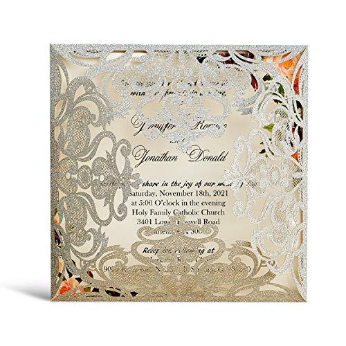 WISHMADE 20 Stück Silber Laser Cut Hohlblumenhochzeits Hochzeitseinladungskarten mit Umschläge Brautparty Verlobung, Silber Hochzeitskarten