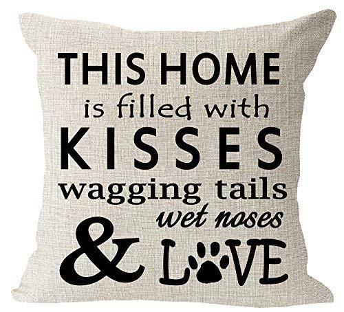 Delia32Agnes Modern This Home está Relleno con Besos Wagging Tail Wet Nose Love Dog Paws algodón Throw Fundas de Almohada Decorativa 18 x 18