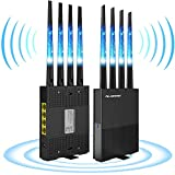 WiFi Extender Signal Booster Devices,1200Mbps WiFi Repeater 2.4 & 5GHz Dual Band Range up to 2500FT - Covers 15 Devices with 4 External Advanced Antennas & 4 Ethernet Port,Simple Setup (Black)